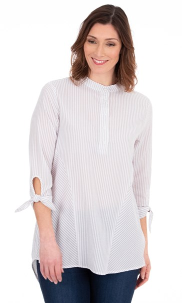 Oversized Seersucker Striped Top White/Grey