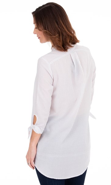 Oversized Seersucker Striped Top White/Grey - Gallery Image 2