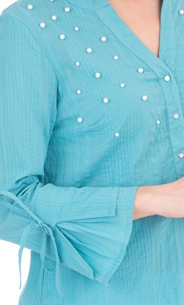Faux Pearl Embellished Cotton Top Sea Blue - Gallery Image 3