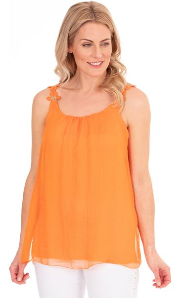 Crochet Strap Chiffon Top Orange