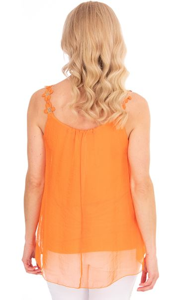 Crochet Strap Chiffon Top Orange - Gallery Image 2