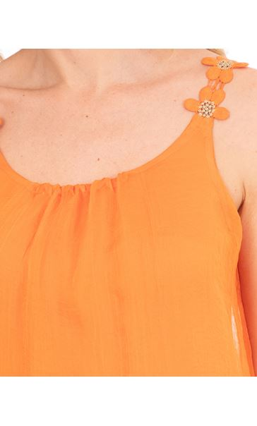 Crochet Strap Chiffon Top Orange - Gallery Image 3