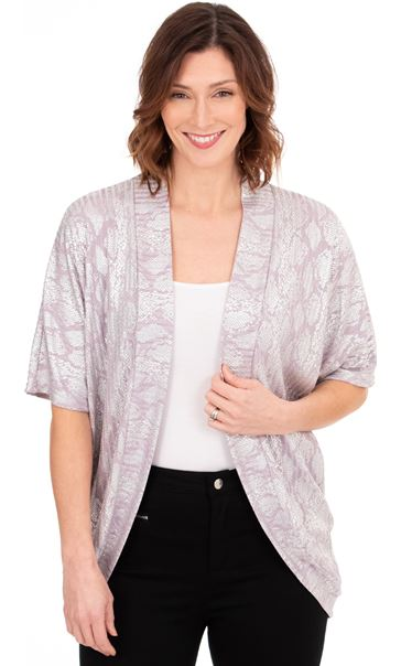 Oversized Snake Print Lightweight Knit Cover Up - Lilac