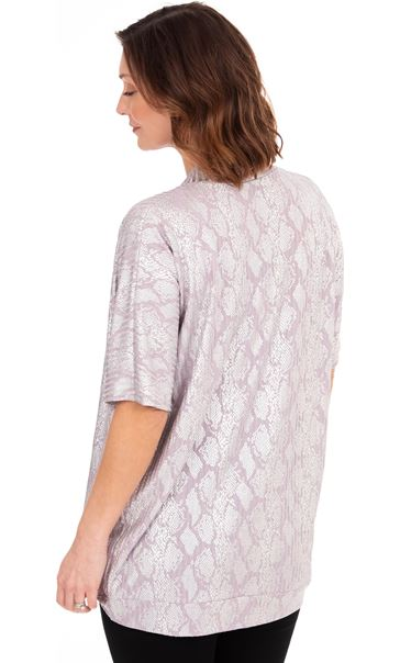 Oversized Snake Print Lightweight Knit Cover Up Lilac - Gallery Image 2