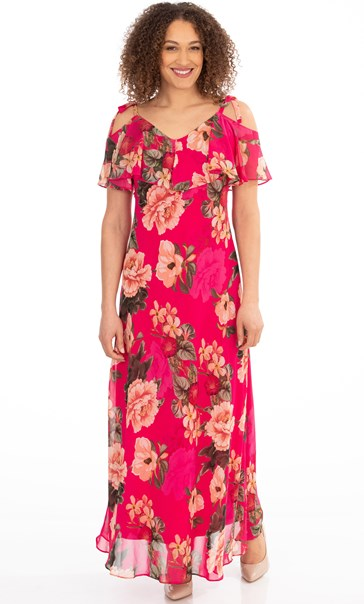Floral Chiffon Maxi Dress Dark Pink - Gallery Image 2