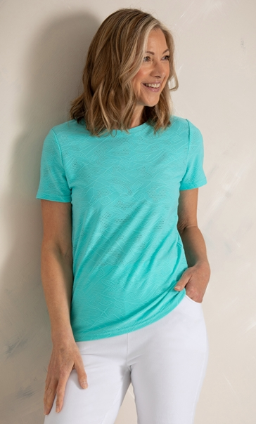 Anna Rose Textured Stretch Top Aqua