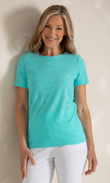 Anna Rose Textured Stretch Top Aqua - Gallery Image 2