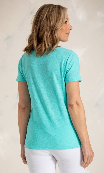 Anna Rose Textured Stretch Top Aqua - Gallery Image 3