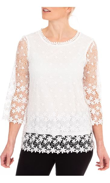 Anna Rose Lace Top White