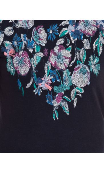 Anna Rose Placement Printed Top Navy/Multi - Gallery Image 4