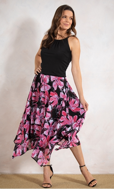 Floral Border Print Dress Black/Pink