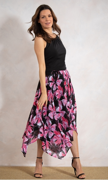 Floral Border Print Dress Black/Pink - Gallery Image 2