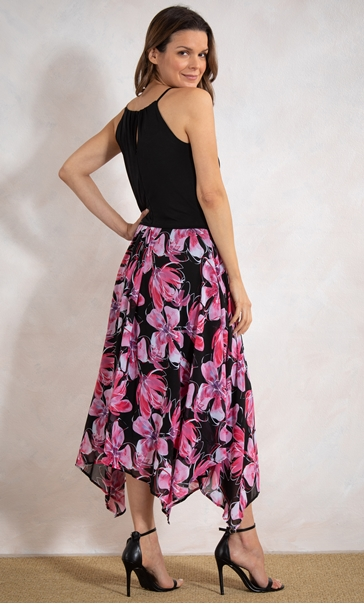 Floral Border Print Dress Black/Pink - Gallery Image 3