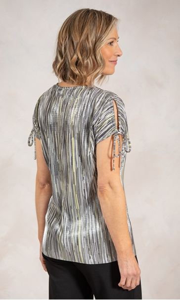 Anna Rose Stripe Pleated Top Yellow - Gallery Image 2