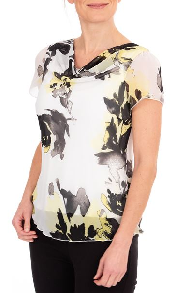 Anna Rose Printed Chiffon Top Ivory/Black/Yellow