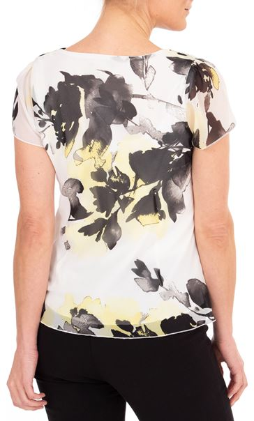 Anna Rose Printed Chiffon Top Ivory/Black/Yellow - Gallery Image 2