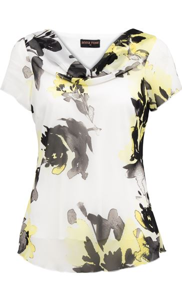Anna Rose Printed Chiffon Top Ivory/Black/Yellow - Gallery Image 3