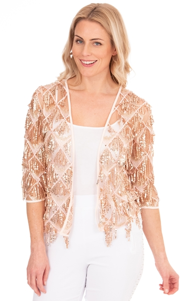 Sequin Fringed Open Mesh Cover Up Coral/Rose Gold