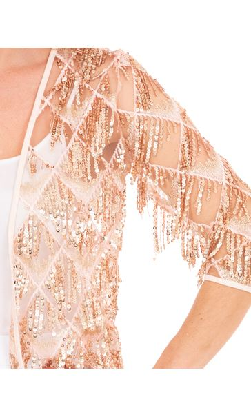 Sequin Fringed Open Mesh Cover Up Coral/Rose Gold - Gallery Image 3