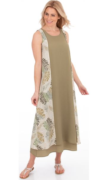 Sleeveless Layered Maxi Dress Olive