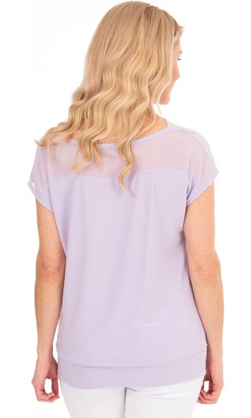 Embellished Cowl Neck Chiffon Top - Lilac