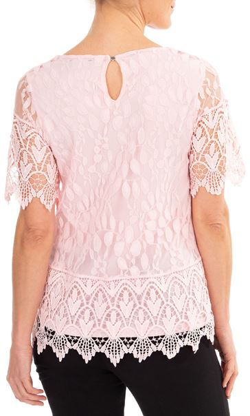 Anna Rose Lace And Crochet Top Pink - Gallery Image 2