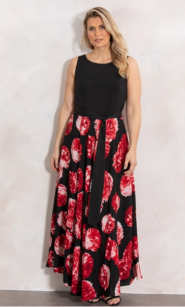 Floral Print Sleeveless Maxi Dress Black/Red