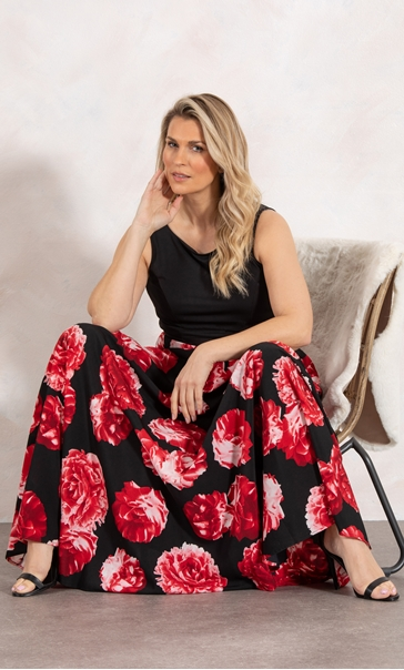 Floral Print Sleeveless Maxi Dress Black/Red - Gallery Image 2