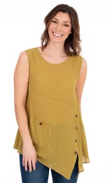 Sleeveless Crinkle Tunic