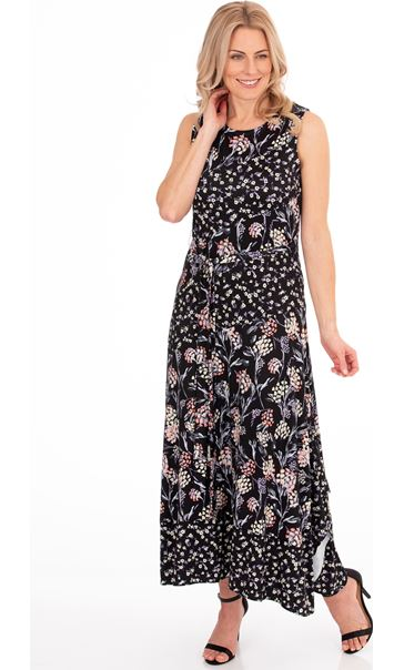 Sleeveless Floral Patchwork Printed Maxi Dress
