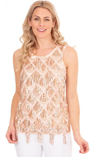 Sequin Fringed Sleeveless Top