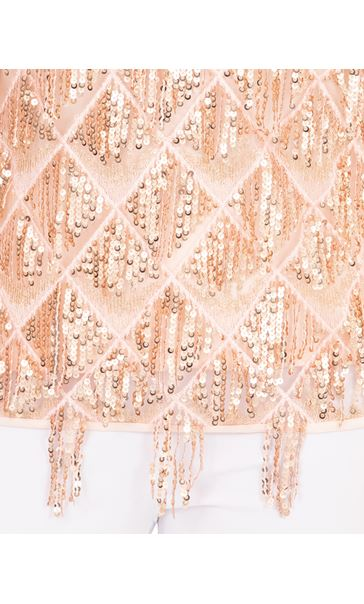 Sequin Fringed Sleeveless Top Coral/Rose Gold - Gallery Image 3