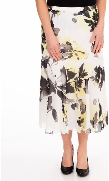 Anna Rose Floral Print Chiffon Midi Skirt Ivory/Black/Yellow