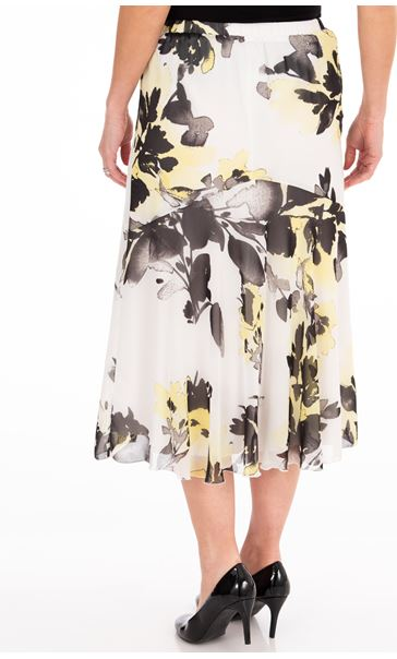 Anna Rose Floral Print Chiffon Midi Skirt Ivory/Black/Yellow - Gallery Image 2