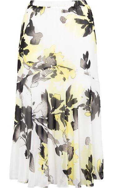 Anna Rose Floral Print Chiffon Midi Skirt Ivory/Black/Yellow - Gallery Image 3
