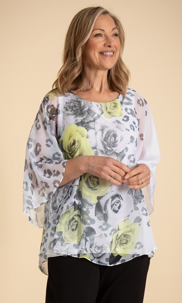 Anna Rose Embellished Floral Top - Ivory/Black/Yellow