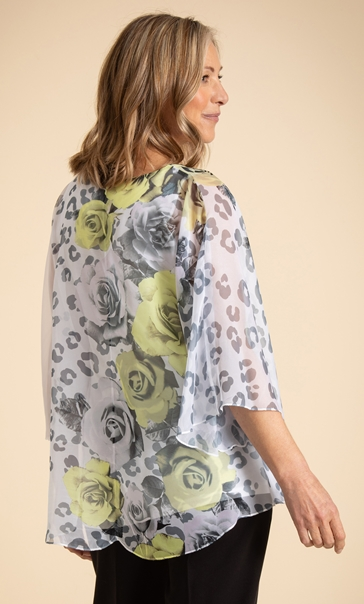 Anna Rose Embellished Floral Top Ivory/Black/Yellow - Gallery Image 3