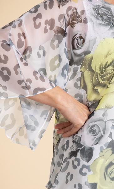 Anna Rose Embellished Floral Top Ivory/Black/Yellow - Gallery Image 4
