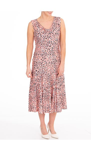 Anna Rose Printed Cowl Neck Midi Dress - Coral/Black