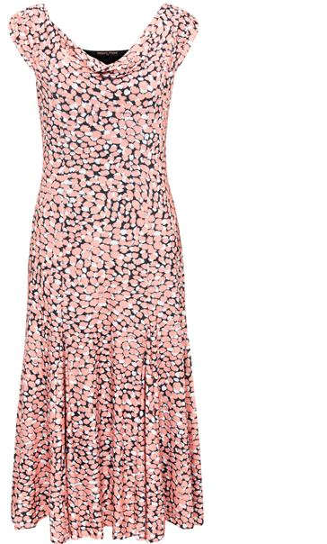 Anna Rose Printed Cowl Neck Midi Dress Coral/Black - Gallery Image 3