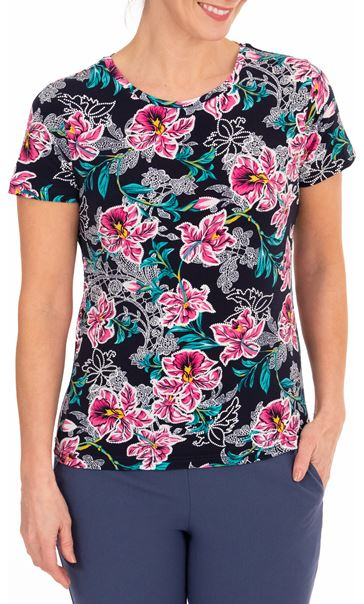 Anna Rose Printed Short Sleeve Top Navy/Aqua/Pink