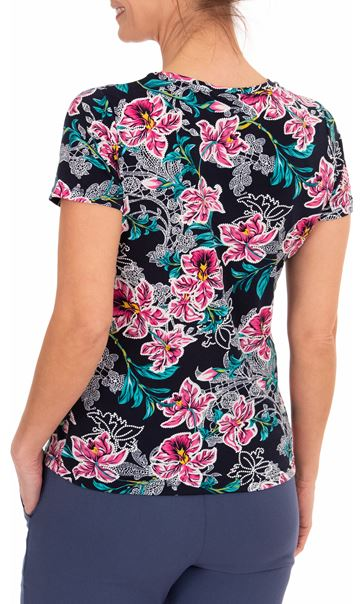 Anna Rose Printed Short Sleeve Top Navy/Aqua/Pink - Gallery Image 2