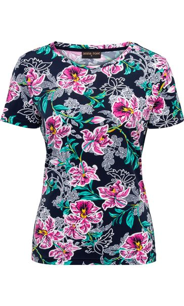Anna Rose Printed Short Sleeve Top Navy/Aqua/Pink - Gallery Image 3