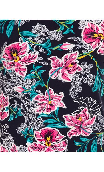Anna Rose Printed Short Sleeve Top Navy/Aqua/Pink - Gallery Image 4