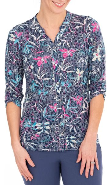 Anna Rose Floral Print Blouse Navy/Multi