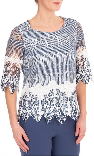 Anna Rose Printed Lace Top Navy/White
