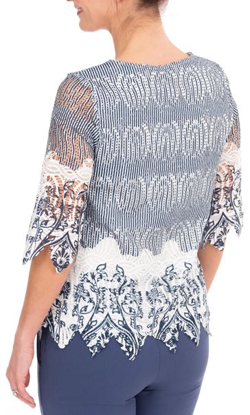 Anna Rose Printed Lace Top Navy/White - Gallery Image 2