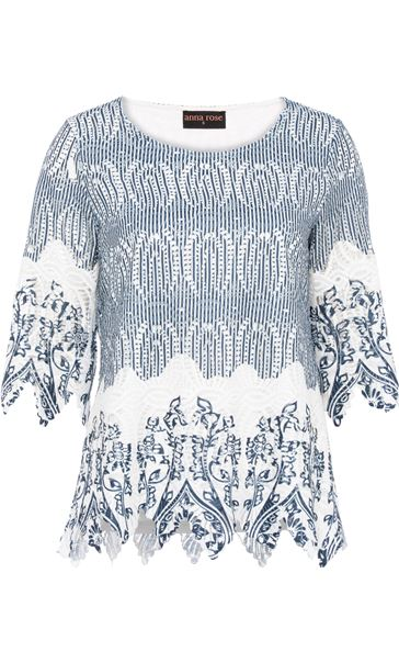 Anna Rose Printed Lace Top Navy/White - Gallery Image 3