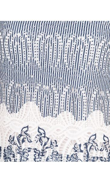 Anna Rose Printed Lace Top Navy/White - Gallery Image 4