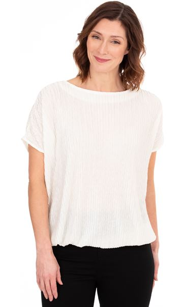 Plisse Blouson Short Sleeve Top Ivory